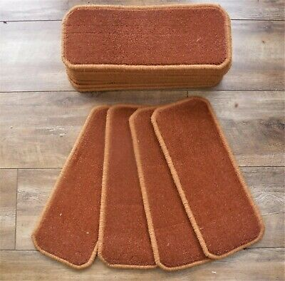 14 Stair Carpet pads Treads Rust Wilton Twist  # 20cm x 50cm #