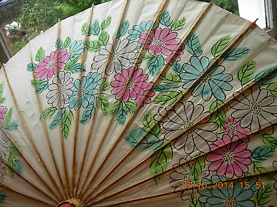 """Chinese Parasol paper & bamboo hand painted picture 37"""" across"""