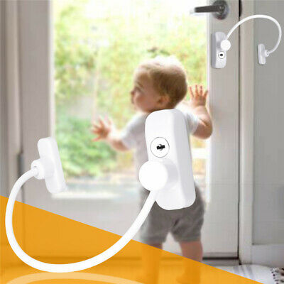Window Door Restrictor Security Key Lock Wire Child Safety Sliding Sash Stopper