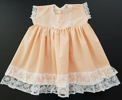 VINTAGE BABY (or REBORN DOLL'S) DRESS, APRICOT & WHITE LACE - HANDMADE