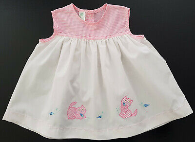 VINTAGE DRESS, 1970's, BABY (or REBORN DOLL) WHITE & PINK APPLIQUE CATS - SIZE 1