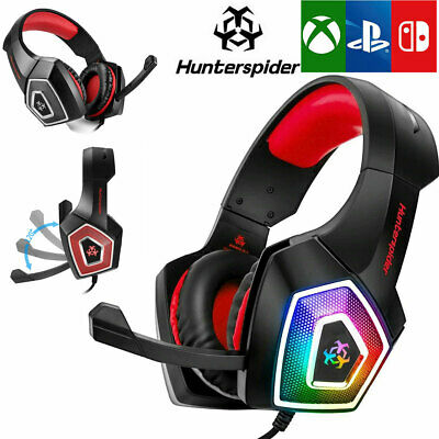 3.5mm Hunterspider Stereo Bass Surround Gaming Headset for PS4 Xbox One PC Mic