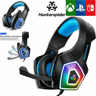 Hunterspider V1 Blue Stereo Bass Surround Gaming Headset for PS4 Xbox One PC Mic