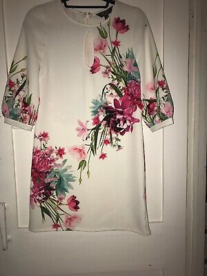 Lipsy London White Pink Floral Dress Size 4 Brand New With Tags