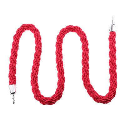 Nylon Rope Crowd Control Stanchion Post Queue Line Barrier Red with Hook