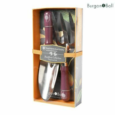 RHS from Burgon & Ball Passiflora Design Gardening Trowel and Fork in Gift Box