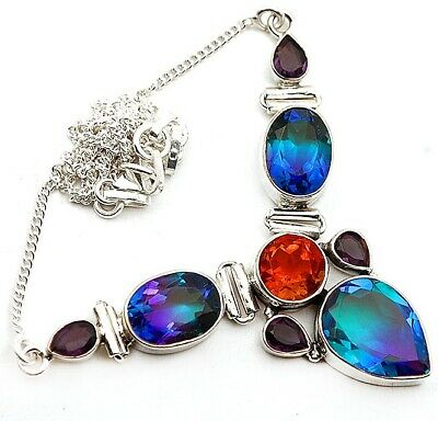 24CT Multi Color Tourmaline Quartz 925 Sterling Silver Necklace Jewelry 18 NN