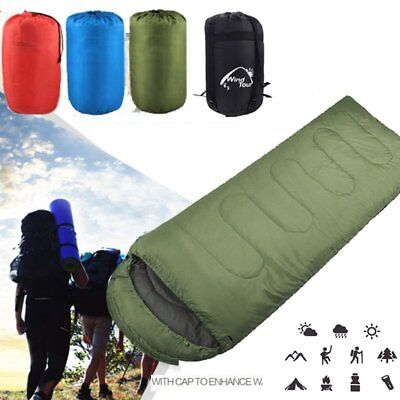 3/4 Season Waterproof Single Adult Camping Hiking Case Envelope Sleeping Bag k7