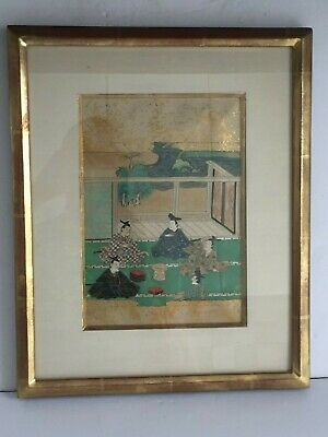 Japanese 19thC TALES OF GENJI Framed Painted Woodblock Print Gold leaf 1 of 3