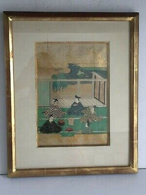 Original Japanese 19th Century TALES OF GENJI Framed Painting w Gold leaf 1 of 3