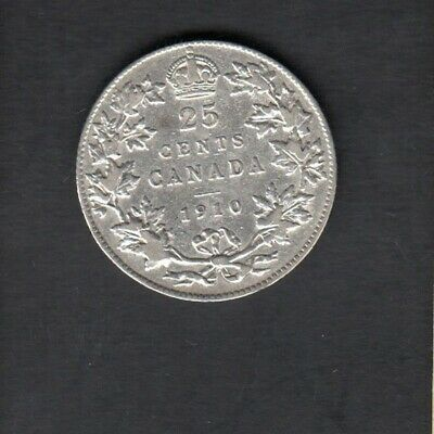 1910 Canada Silver 25 Cents