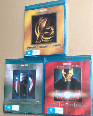 Avengers IRON MAN Captain America 3-Movie Collection Blu-ray 1-3 Complete Marvel