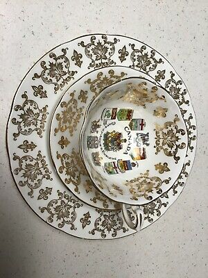 Paragon CANADA COAT OF ARMS & EMBLEMS Bone China PLATE, TEA CUP & SAUCER EUC