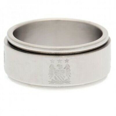 Manchester City Football Club Stainless Steel Spinner Ring EC Size Small (R)