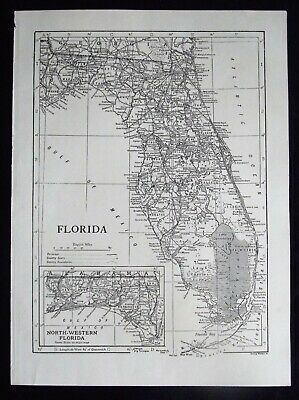 Vintage Map: Florida, United States, by Emery Walker, c 1950s, B/W