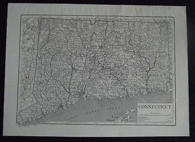 Vintage Map: Connecticut, United States, by Emery Walker, c 1950s, B/W