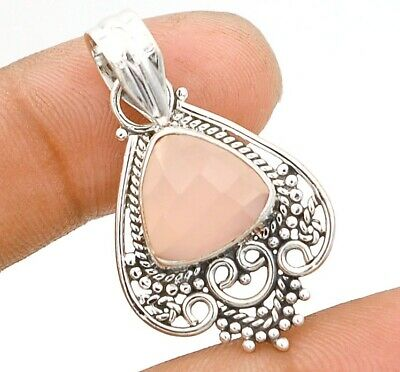 Filigree Faceted Rose Quartz 925 Solid Sterling Silver Pendant Jewelry, C29-9