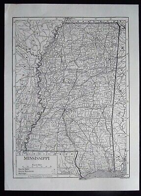 Vintage Map: Mississippi, United States, by Emery Walker, c 1950s, B/W
