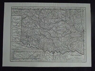 Vintage Map: Oklahoma, United States, by Emery Walker, c 1950s, B/W