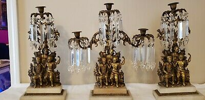 Vintage 3 Piece Candelabra With Spear Shaped Prisms And Marble Base