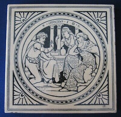 Victorian Arts & Crafts Minton tile OTHELLO designed by John Moyr Smith ca. 1890