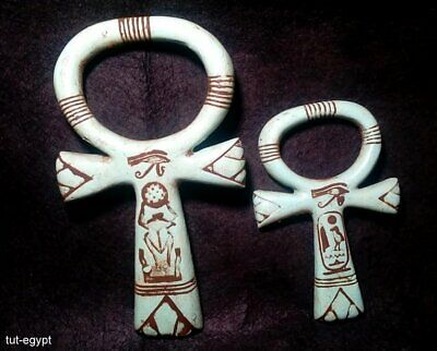 2  RARE ANCIENT EGYPTION ANTIQUE ANKH KEY OF LIfe,HOrus Eye Amulet (1359-1147BC)