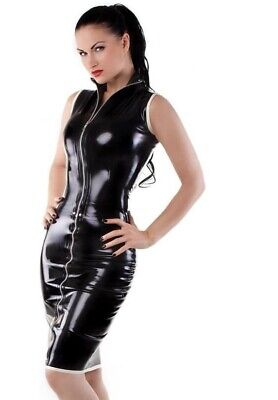 Latex Catuist Rubber Gummi Zip Front Long Dress Sexy Party Wear Customize 0.4mm