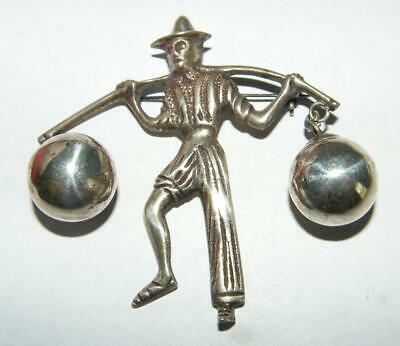 Vintage Sterling Silver Mexican Water Carrier Pin