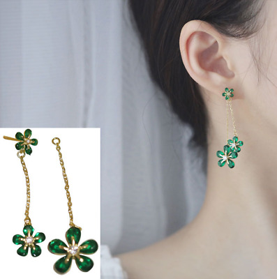 Lab-Created Emerald CZ Drop Clover Earrings in Sterling Silver with 14K Gold D31
