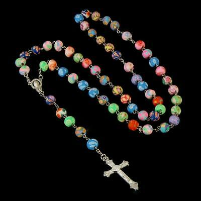 "COLORFUL ROSARY 30"" Necklace 6"" Drop 8mm Fimo Clay Prayer Bead Catholic Crucifix"