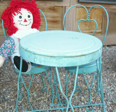 1940's Dining Metal Table & Chairs Ice Cream Set 15 x 10 1/2 & 17 x 6 1/2