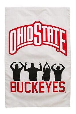 Ohio State Buckeyes 2sided Garden Flag Applique Embroidered Banner University of