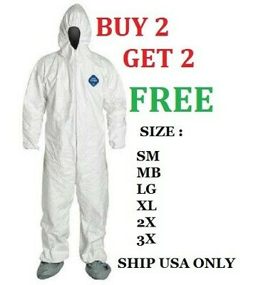 Dupont TY122S White Tyvek Disposable Coverall Bunny Suit Hood Boots PPE