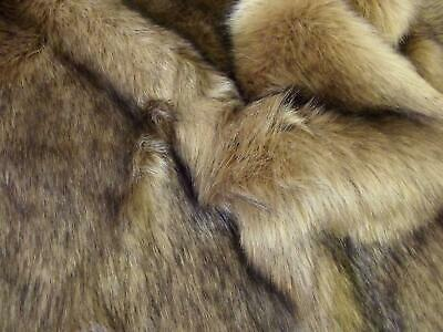 Super Luxury Faux Fur Fabric Material - SUPERIOR LONG PILE CAMEL BROWN
