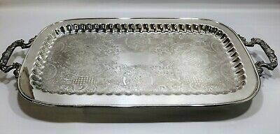 """Vtg English Silver FOOTED TRAY with Handles by Leonard Extra Large Size 24.5"""""""