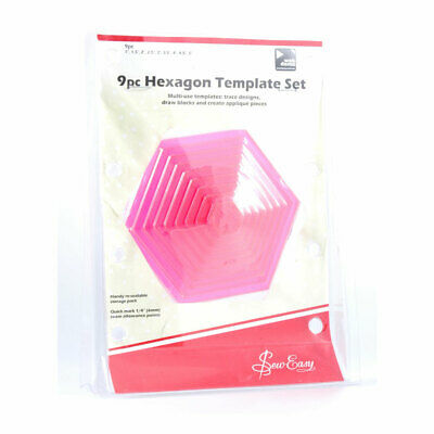 Sew Easy ERGG07.PNK | Pink Hexagon 9 Piece Template Set | 1-5in