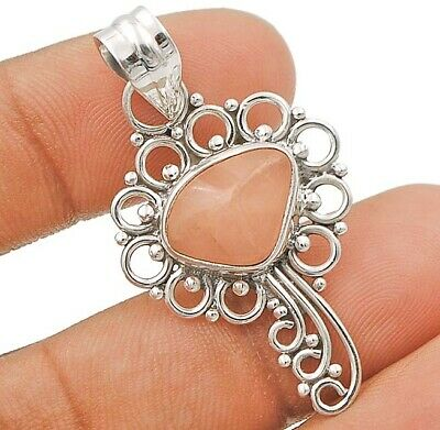 Filigree Rose Quartz 925 Solid Sterling Silver Pendant Jewelry, C29-7