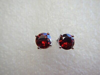 Vintage Sterling Silver Stunning Round Cut Red Garnet Ruby Topaz Earrings