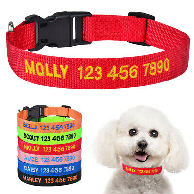 Nylon Personalized Dog Collar Embroidered Name Phone Number ID Puppy Collar XS-L