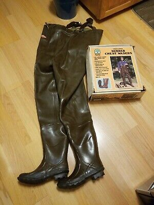 Hand-made thick unlined black rubber full body waders suit chest entry XL EU44