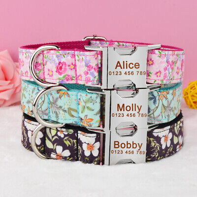 Flower Nylon Personalized Dog Collar Custom Name ID Engraved Metal Buckle XS L