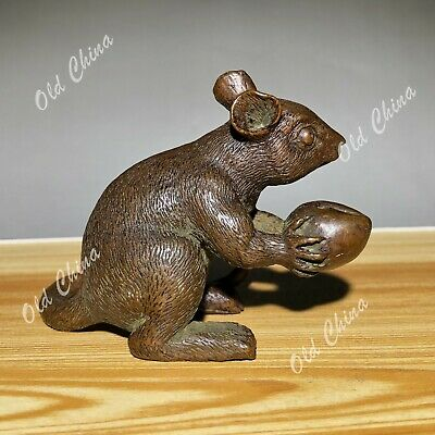 Old Antique Chinese Solid Copper Handwork Collectible Mouse Hold Peach Statue