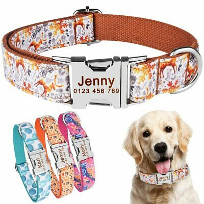 Durable Nylon Dog Collar Personalized Custom Engraved Name ID Tag Small Large