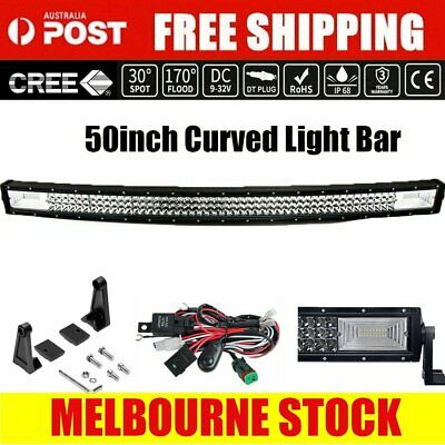 50inch Curved Cree LED Light Bar Spot Flood Combo Beam Work Driving 4WD 52""