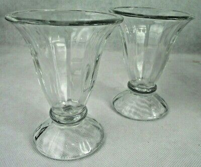 EUC! RETRO VINTAGE Glass Ice Cream Parlor Soda Fountain Sundae/Parfait Set/2