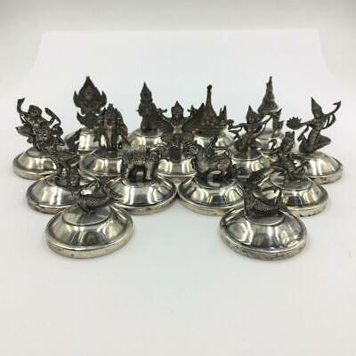 (15) Vintage Siam Sterling Silver Weighted Place Cardholders