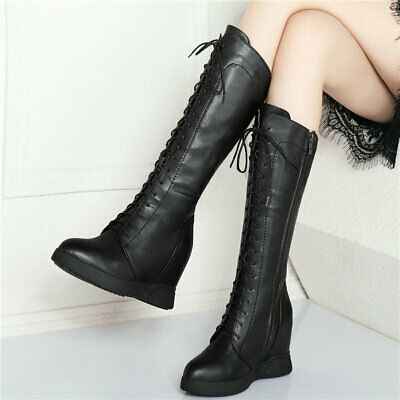 Women's Lace Up Cow Leather Wedges High Heel Pointed Toe Military Mid Calf Boots