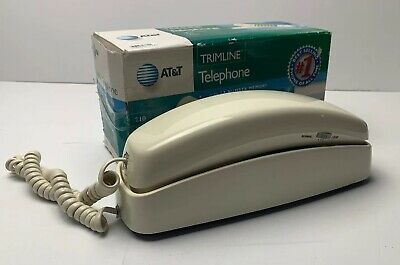 Vintage AT&T Trimline 210 Beige Touch Tone Push Button Phone In Original box!!!!