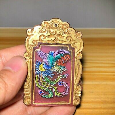 Collectible Old Coloured Glaze Handwork Dragon & Phoenix Chinese Antique Pendant