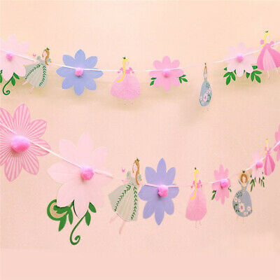 Flower Birthday Party Decor Set Balloon Paper Pompom Banner Bunting Flags CZ